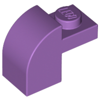 Medium Lavender Slope, Curved 2 x 1 x 1 1/3 with Recessed Stud
