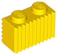 Yellow Brick, Modified 1 x 2 with Flutes / Fluted