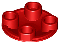 Red Plate, Round 2 x 2 with Rounded Bottom (Boat Stud)