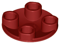 Dark Red Plate, Round 2 x 2 with Rounded Bottom (Boat Stud)