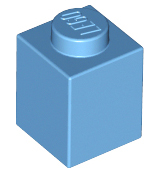 Medium Blue Brick 1 x 1