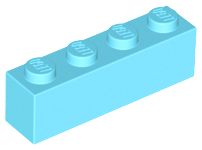 Medium Azure Brick 1 x 4