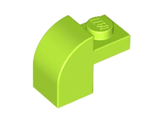 Lime Slope, Curved 2 x 1 x 1 1/3 with Recessed Stud
