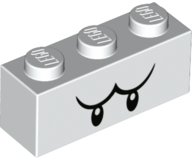 White Brick 1 x 3 with Black Eyes and Eyebrows Pattern (Boo)