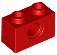 Red Technic, Brick 1 x 2 with Hole