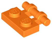 Orange Plate, Modified 1 x 2 with Handle on Side - Free Ends