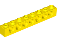 Yellow Technic, Brick 1 x 8 with Holes