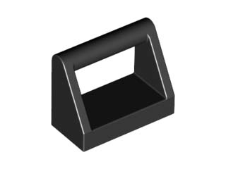 Black Tile, Modified 1 x 2 with Handle