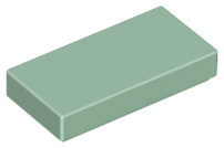 Sand Green Tile 1 x 2 with Groove