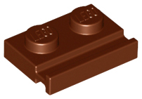 Reddish Brown Plate, Modified 1 x 2 with Door Rail