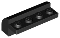 Black Slope, Curved 2 x 4 x 1 1/3 with Four Recessed Studs