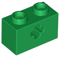 Green Technic, Brick 1 x 2 with Axle Hole