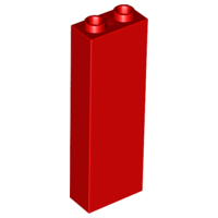 Red Brick 1 x 2 x 5 - Blocked Open Studs or Hollow Studs