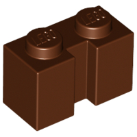 Reddish Brown Brick, Modified 1 x 2 with Groove