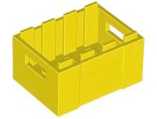 Yellow Container, Crate 3 x 4 x 1 2/3 with Handholds