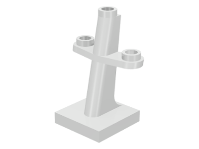 White Boat Mast 2 x 2 x 3 Inclined with Stud on Top and Two Sides