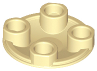 Tan Plate, Round 2 x 2 with Rounded Bottom (Boat Stud)