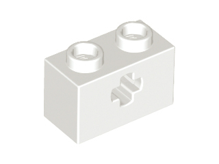 White Technic, Brick 1 x 2 with Axle Hole