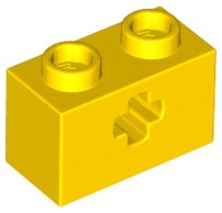 Yellow Technic, Brick 1 x 2 with Axle Hole