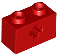Red Technic, Brick 1 x 2 with Axle Hole
