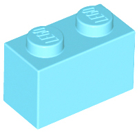 Medium Azure Brick 1 x 2