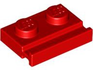 Red Plate, Modified 1 x 2 with Door Rail