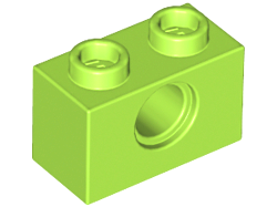 Lime Technic, Brick 1 x 2 with Hole