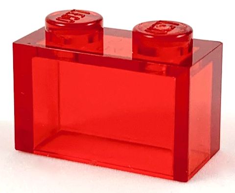 Trans-Red Brick 1 x 2 without Bottom Tube